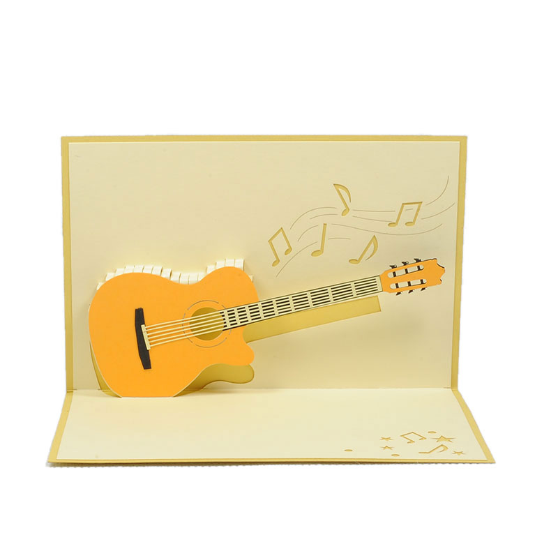Classic Guitar Pop Up Card Birthday Music 3D Cards Charm