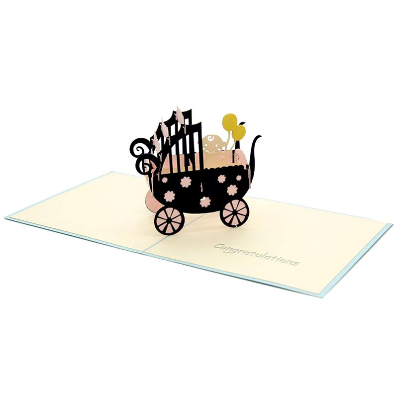 Baby carriage pop up card-pop up card manufacturer- pop up card wholesaler- kirigami card vietnam-CharmPop (4)