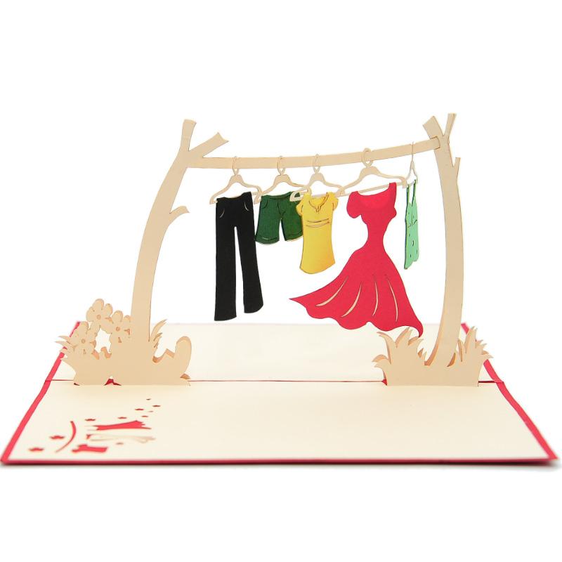 Clothes line pop up card- 3d greeting card manufacturer- custom design pop up cards-wholesaler vietnam (3)