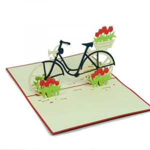 Customized-Bike-and-Tulips-design-pop-up-card-2