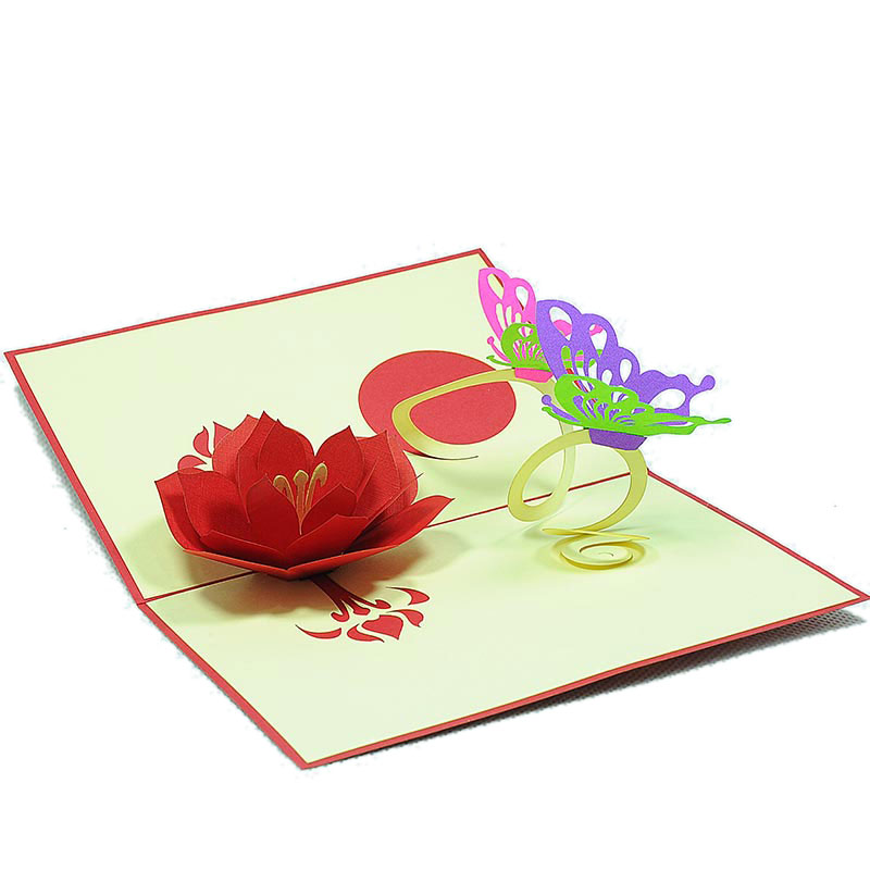 Butterfly flower pop up card custom new designs 3d greeting cards fl026 butterfly flower 3d pop up card manufacturer m4hsunfo Image collections
