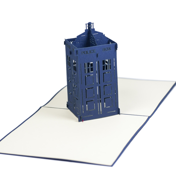 FS008-Police-Box-holiday 3D card- custom pop up card-Charm Pop (1)