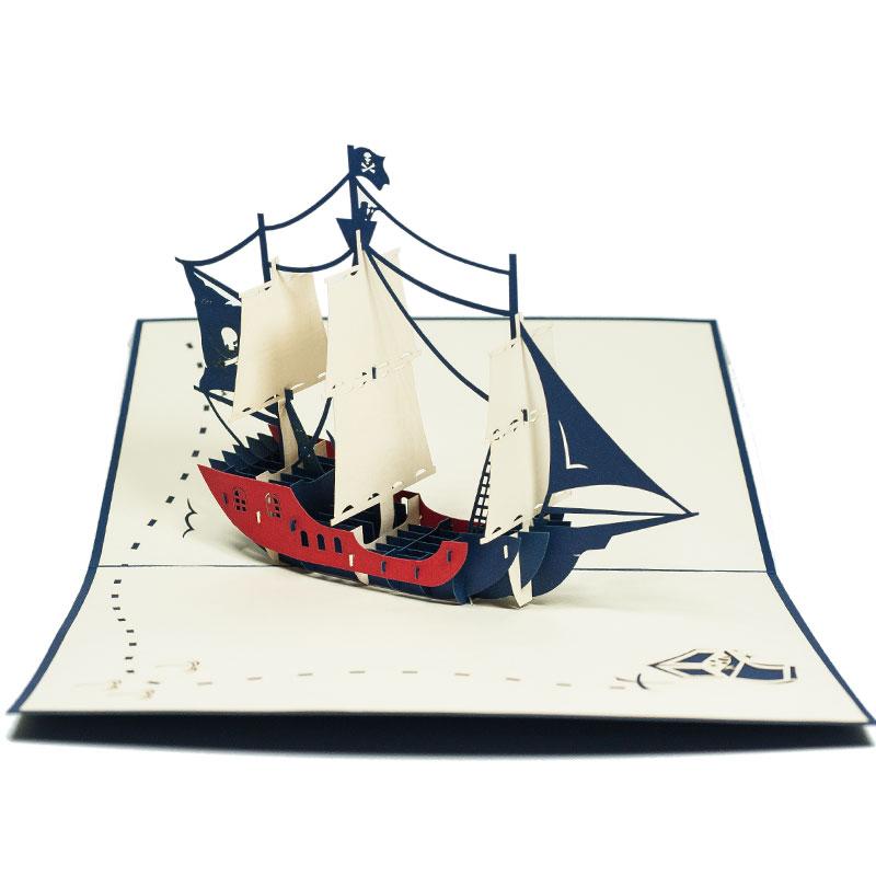 FS044-Private-Ship-2-Origami-3D-card-Birthday pop up card-Charm Pop (1)
