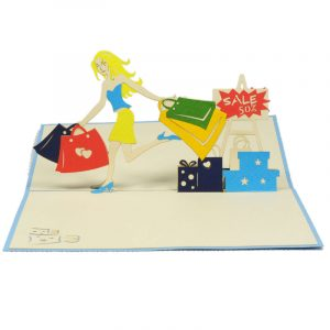 FS049-Shopping-Girl-3D-pop-up-card-handmade-card-friendship-Popup-card-Birthday card-Charm Pop (1)