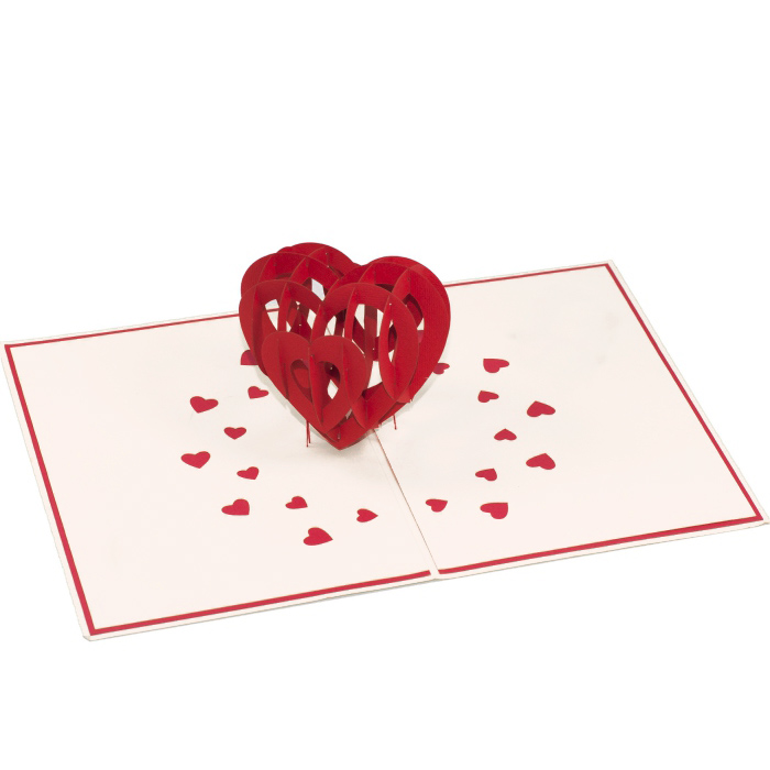 big heart pop up card 3d love card wholesale wedding invitation