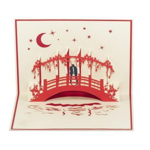LV031-Couple-Kissing-by-the-bridge-Pop-up-card-Love card-Custom-design-3D-card-Charm Pop (1)