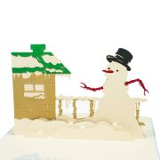 MC005-Snowman-with-winter-house-Christmas-card-holiday-pop-up-card-3D-Pop-up-Card-Custom-Design-Charm Pop