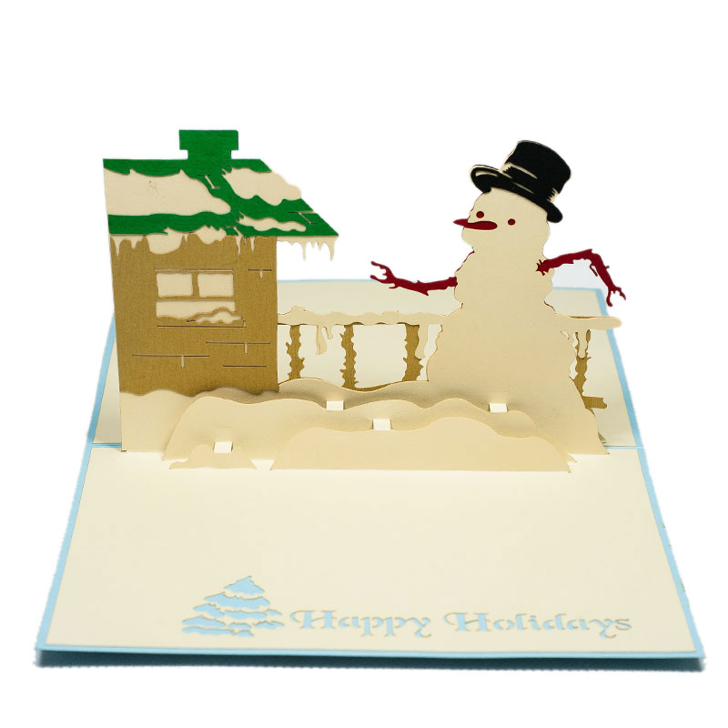 MC005-Snowman-with-winter-house-Christmas-card-holiday-pop-up-card-3D-Pop-up-Card-Custom-Design-Charm Pop (3)