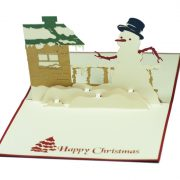 MC005-Snowman-with-winter-house-Christmas-card-holiday-pop-up-card-3D-Pop-up-Card-Custom-Design-Charm Pop (4)