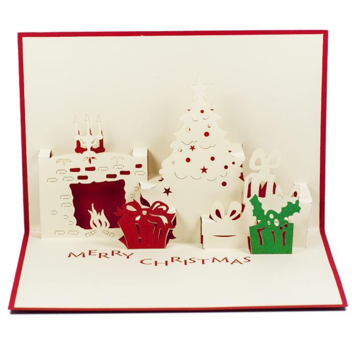 MC011-Noel-tree-and-fireplace-Christmas-card-holiday-pop-up-card-3D-Pop-up-Card-Custom-Design-Charm Pop (2)