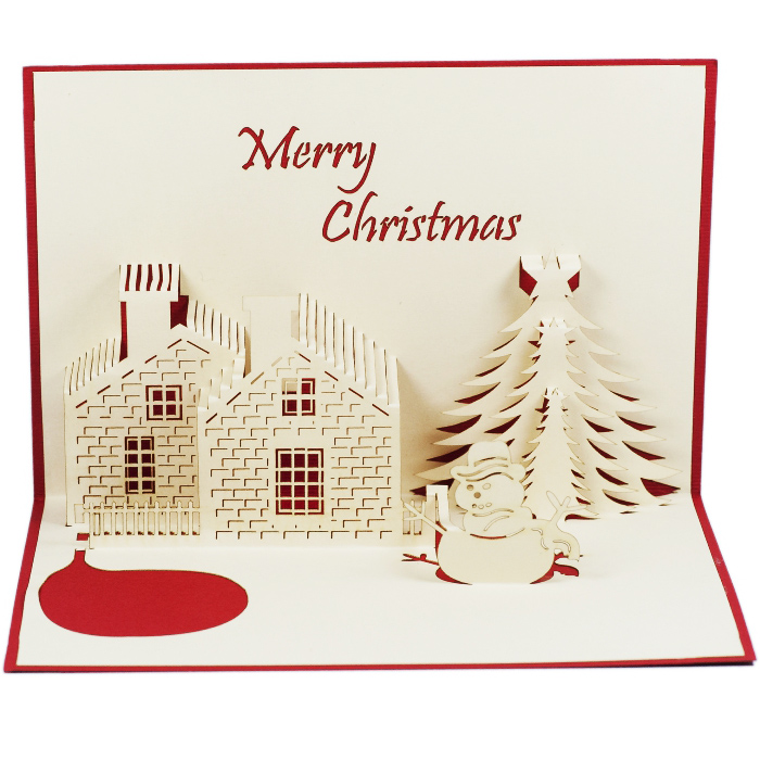 MC012-House-and-Snowman-Christmas-card-holiday-pop-up-card-3D-Pop-up-Card-Custom-Design-Charm Pop (2)