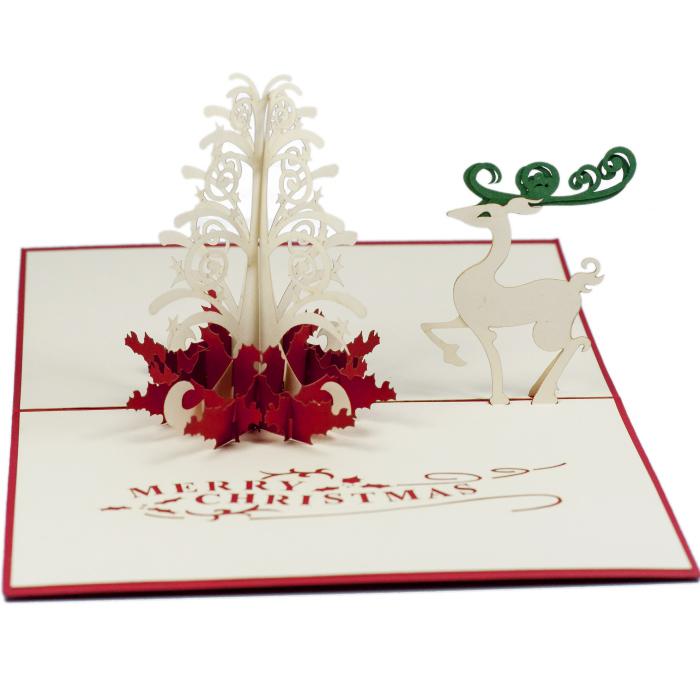MC013-Reindeer Pop Up Card-Christmas-card-holiday-pop-up-card-3D-Pop ...