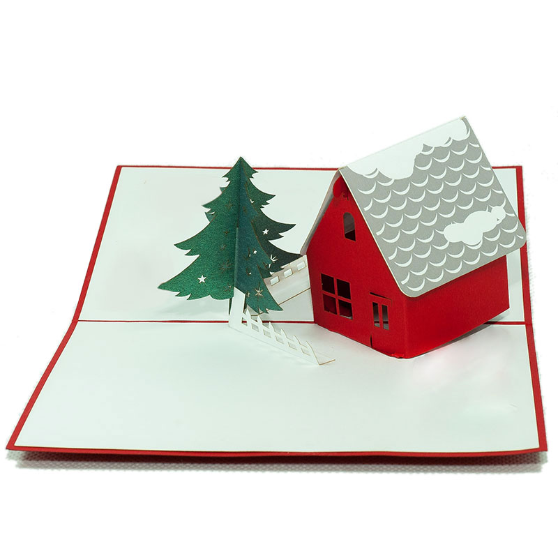 christmas house pop up card custom pop up card wholesale charm pop. Black Bedroom Furniture Sets. Home Design Ideas