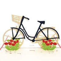 Tulip Bike pop up card-3d greeting card supplier-custom pop up cards-origami card manufacturer-pop up card wholesale (1)
