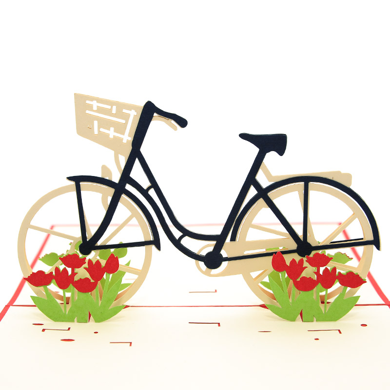 Tulip Bike Card -Vietnam custom 3D cards wholsale-Charm Pop