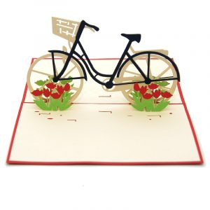 Tulip Bike pop up card-3d greeting card supplier-custom pop up cards-origami card manufacturer-pop up card wholesale (3)