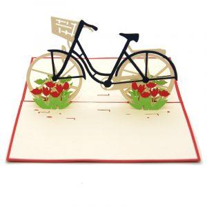 Tulip Bike pop up card-3d greeting card supplier-custom pop up cards-origami card manufacturer-pop up card wholesale (3)