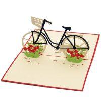 Tulip Bike pop up card-3d greeting card supplier-custom pop up cards-origami card manufacturer-pop up card wholesale (4)