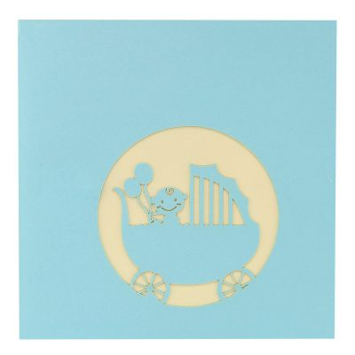 baby in carriage-pop up card wholesale- pop up card birthday- birthday card kirigami- kirigami card manufacturer (1)