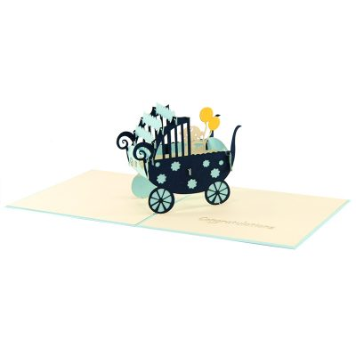 baby in carriage-pop up card wholesale- pop up card birthday- birthday card kirigami- kirigami card manufacturer (2)