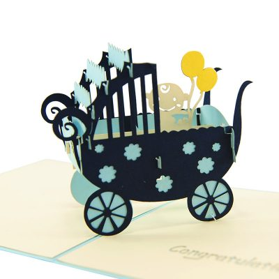 baby in carriage-pop up card wholesale- pop up card birthday- birthday card kirigami- kirigami card manufacturer (3)