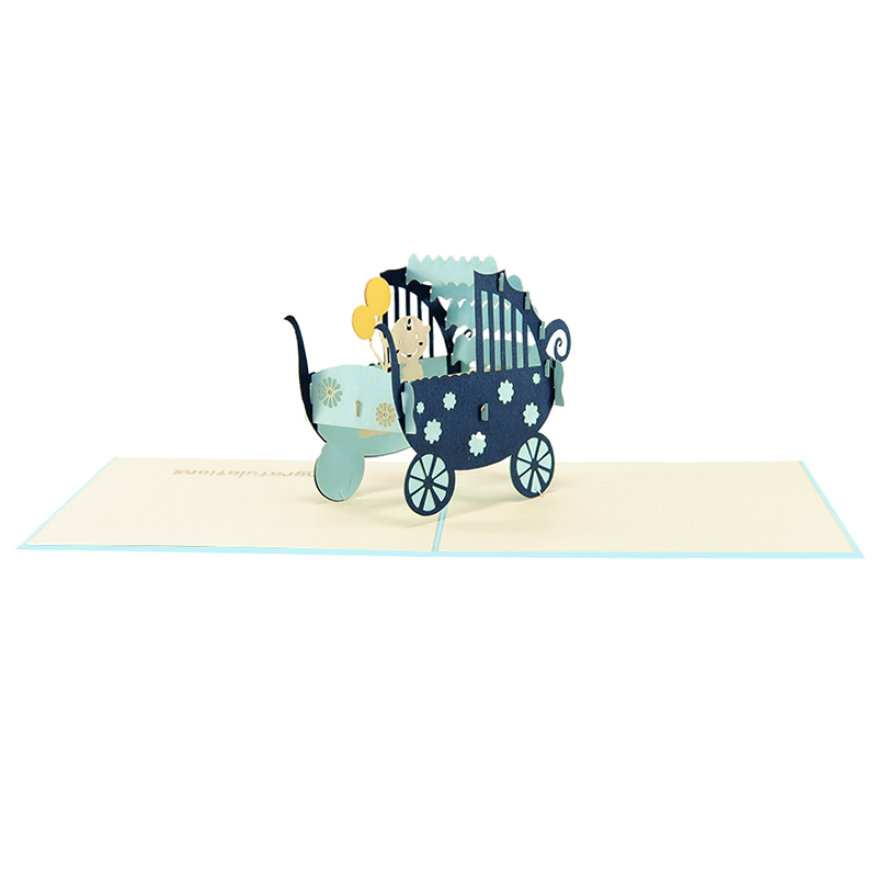 baby in carriage-pop up card wholesale- pop up card birthday- birthday card kirigami- kirigami card manufacturer (4)