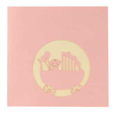 baby in carriage-pop up card wholesale- pop up card birthday- birthday card kirigami- kirigami card manufacturer (5)