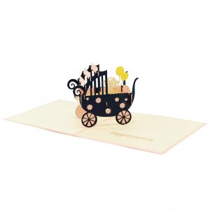 baby in carriage-pop up card wholesale- pop up card birthday- birthday card kirigami- kirigami card manufacturer (7)