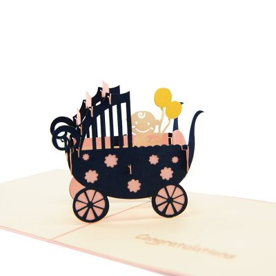 baby in carriage-pop up card wholesale- pop up card birthday- birthday card kirigami- kirigami card manufacturer (8)