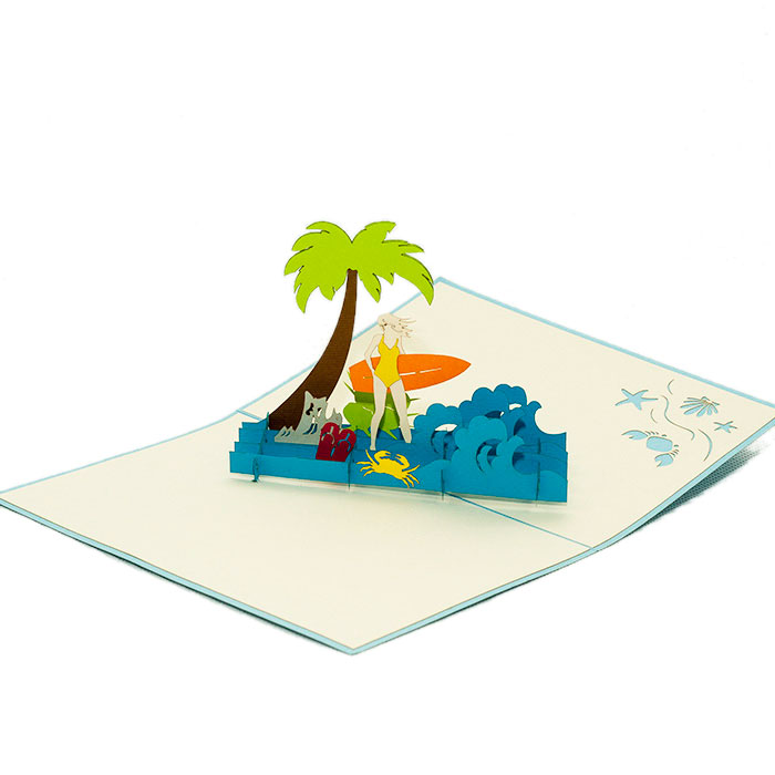 FS033-Birthday-Surfing-Girl-holyday-pop-up-card-3D-pop-up-card-handmade-card-3D-pop-up-card-1