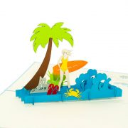 FS033-Birthday-Surfing-Girl-holyday-pop-up-card-3D-pop-up-card-handmade-card-3D-pop-up-card-2