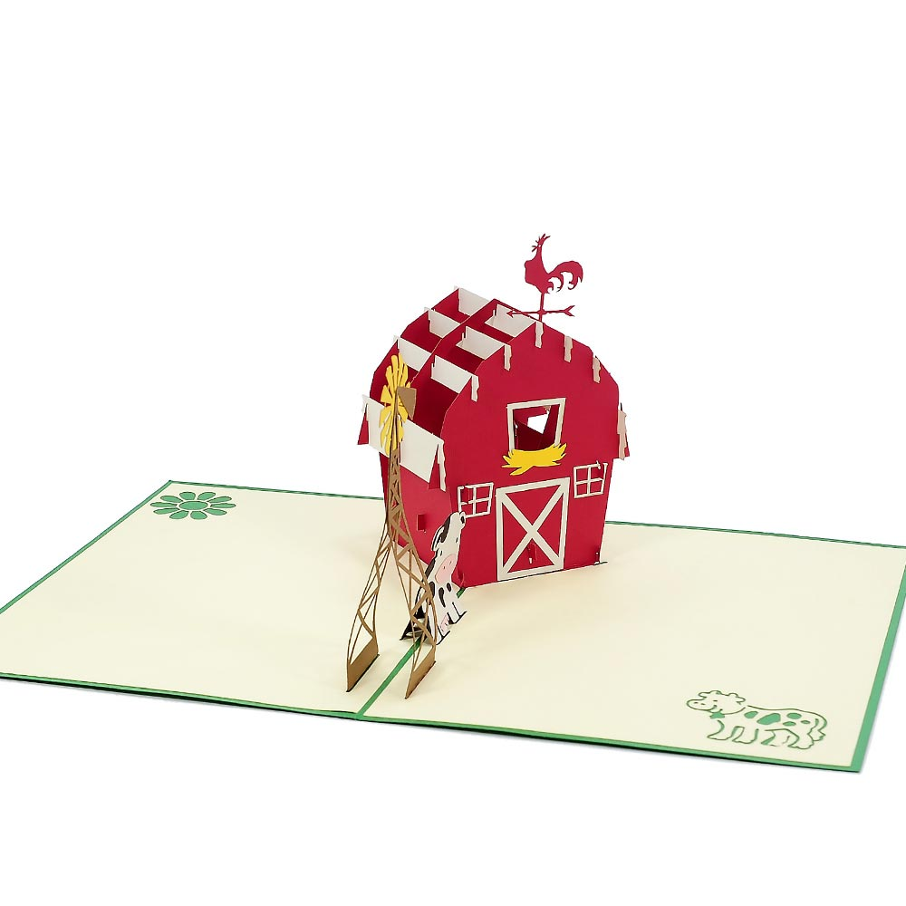 Farmhouse Pop Up Card Retirement 3d Greeting Cards Pop Up Card