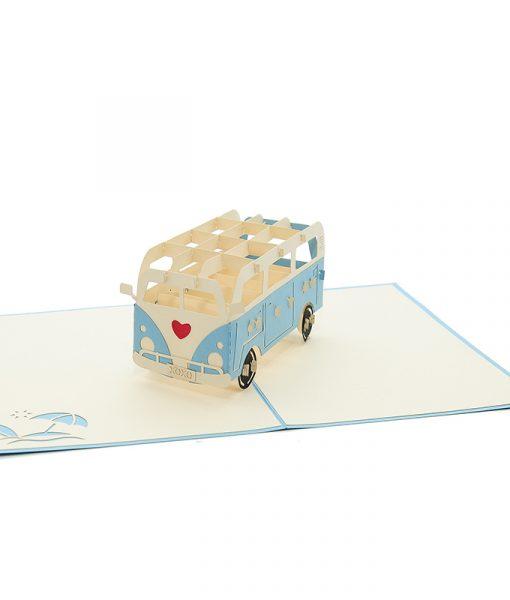 LV046- campervan love pop up card- 3d greeting card wholesale- pop up card valentines- love pop up cars- campervan pop up card (3)