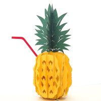 Pineapple drink pop up card-3d greeting card supplier-origami card manufacturer-lpop up card wholesale (1)