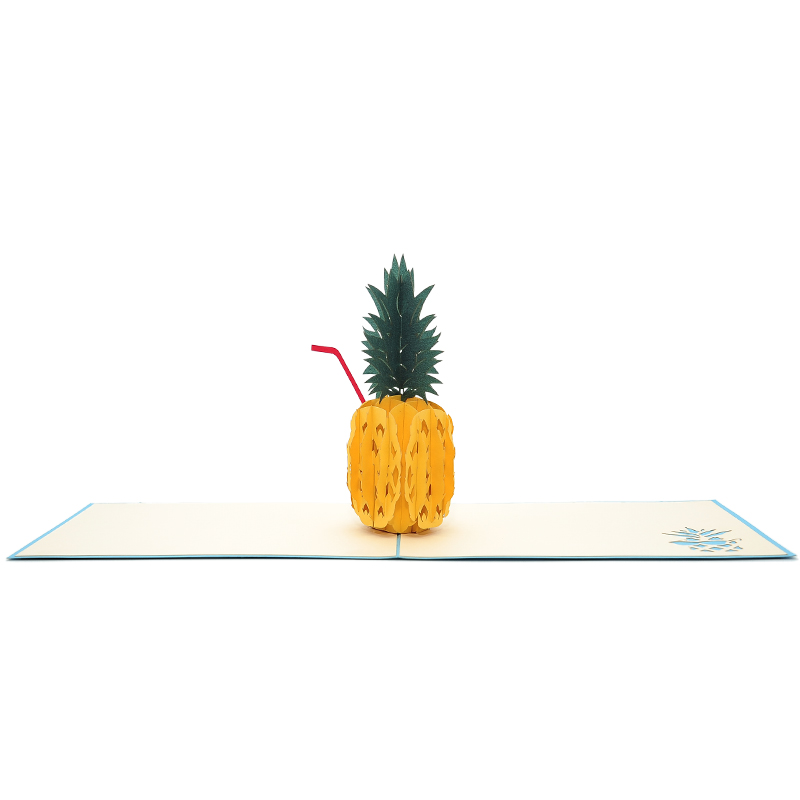 Pineapple drink pop up card-3d greeting card supplier-origami card manufacturer-lpop up card wholesale (4)