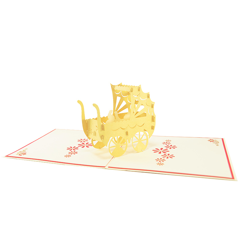 nb023-baby in carriage-pop up card wholesale- pop up card birthday- birthday card kirigami- kirigami card manufacturer (3)