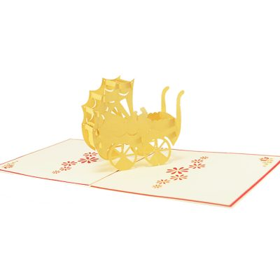 nb023-baby in carriage-pop up card wholesale- pop up card birthday- birthday card kirigami- kirigami card manufacturer (4)