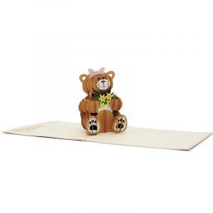 BG064-princess teddy bear pop up card- pop up card wholesale- birthday 3d cards (2)