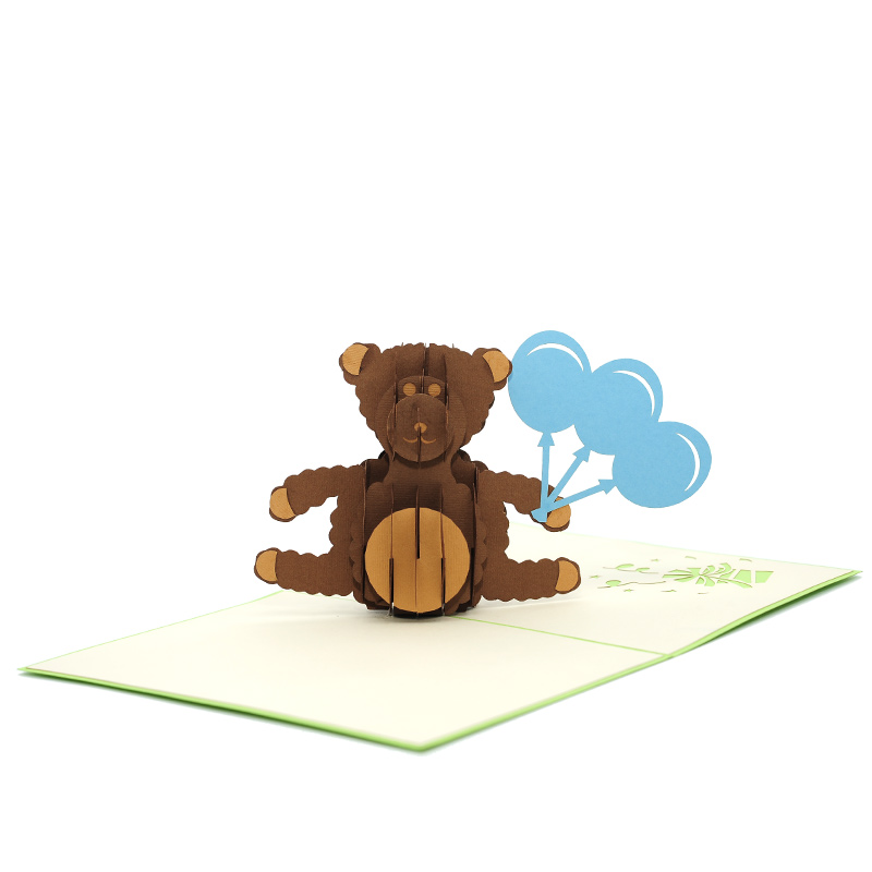 BG069-Teddy Balloon pop up card- pop up gift- kirigami cards manufacturer-pop up cards best price (2)