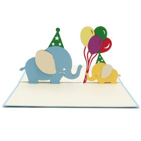 BG070- Elephant birthday pop up card- 3D pop up greeting cards, Kirigami pop up card-paper cuting card-3d pop up laser cuting card, wholesale pop up cards-pop up cards manufacturer supplier1 (1)