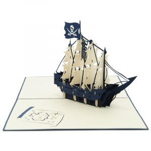 FS043-Ship pop up card- Boy pop up card- adventure 3D gift-greeting card for men-pop up card manufacturer (3)