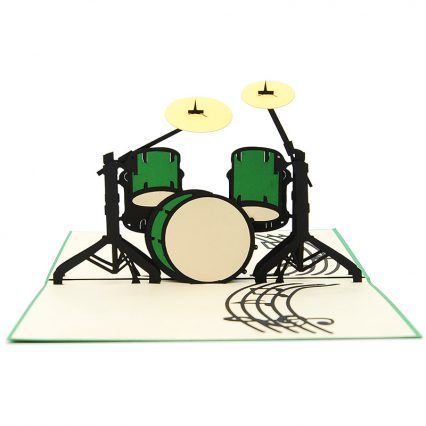 FS089- Drum set pop up card -3D pop up greeting cards, Kirigami pop up card-paper cuting card-3d pop up laser cuting card, wholesale pop up cards-pop up cards manufacturer supplier (4)