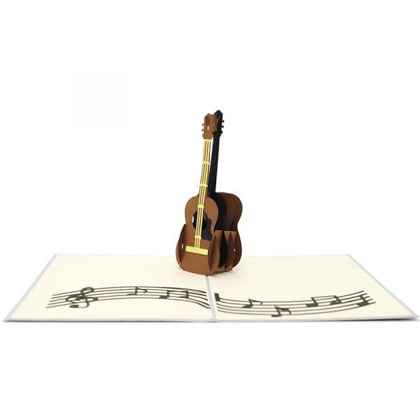 FS090- Guitar pop up card- 3D pop up greeting cards, Kirigami pop up card-paper cuting card-3d pop up laser cuting card, wholesale pop up cards-pop up cards manufacturer supplier (1)