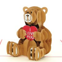 LV045-teddy love pop up card-kirigami art-paper cutting gift- pop up cards supplier best quality (1)