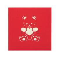LV045-teddy love pop up card-kirigami art-paper cutting gift- pop up cards supplier best quality (2)