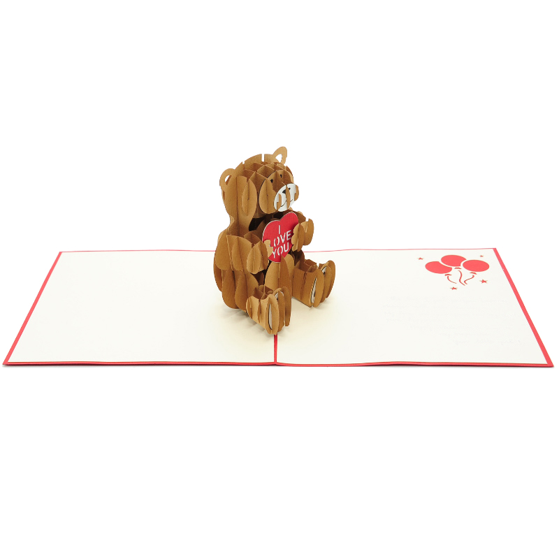 LV045 Teddy Love Pop Up Card Kirigami Art Paper Cutting Gift