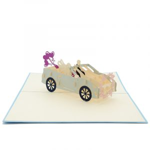 WD032-wedding car pop up card- 3d greeting card manufacturer- birthday pop up card best quality- wholesale pop up card (1)