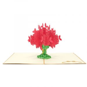 FL006R-Rose kirigami card, custom pop up Card Supplier, flower pop up gift (3)