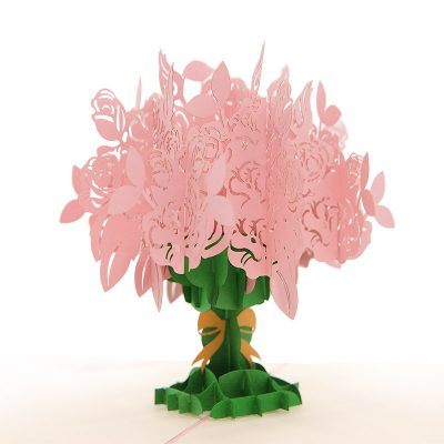 FL006R-Rose kirigami card, custom pop up Card, flower pop up gift, birthday kirigami card (1)