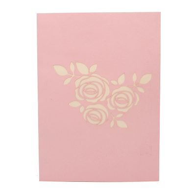 FL006R-Rose kirigami card, custom pop up Card, flower pop up gift, birthday kirigami card (2)